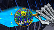 robot hand holding a magnifying glass over an artist's rendering of protein interactions