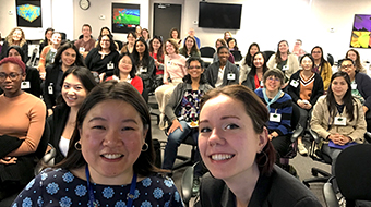 Group selfie of attendees at WiDS 2020