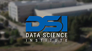 Screen shot of video showing the DSI logo over an aerial view of the Lab