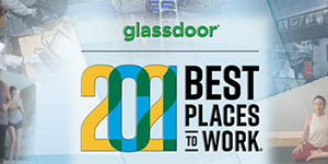 collage of Lab scenes with glassdoor logo
