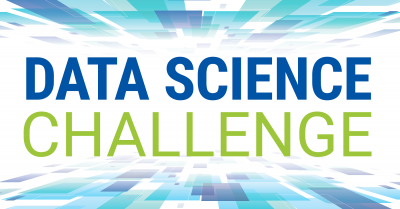 """The words """"data science challenge"""" on an abstract blue and white background"""