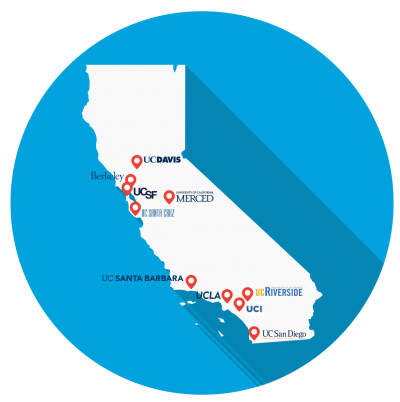 map of California marked with UC campus locations