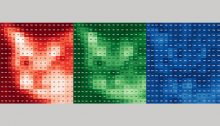 Cat photo broken down into three 17 x 17 grids of numbered pixel intensities shown in red, green, and blue