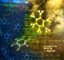 abstract image of molecules on a blue and gold background