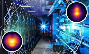 Sierra supercomputer and National Ignition Facility photos combined with abstract graphic representing experimental data and simulations