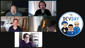 Five people in a video chat grid during the panel session, with Tim's chat window highlighted, next to the Dev Day logo