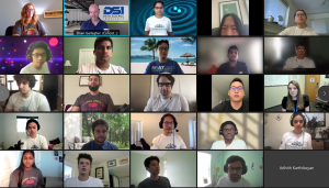 5x5 grid of students and mentors in video chat