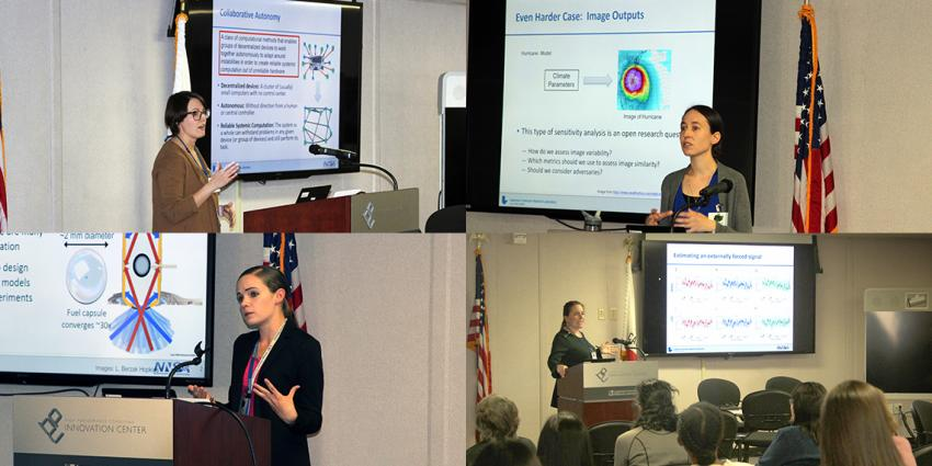 Collage of four women speakers at WiDS 2020