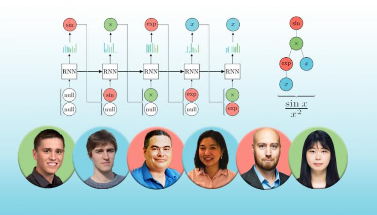 portraits of 6 team members beneath a neural network diagram