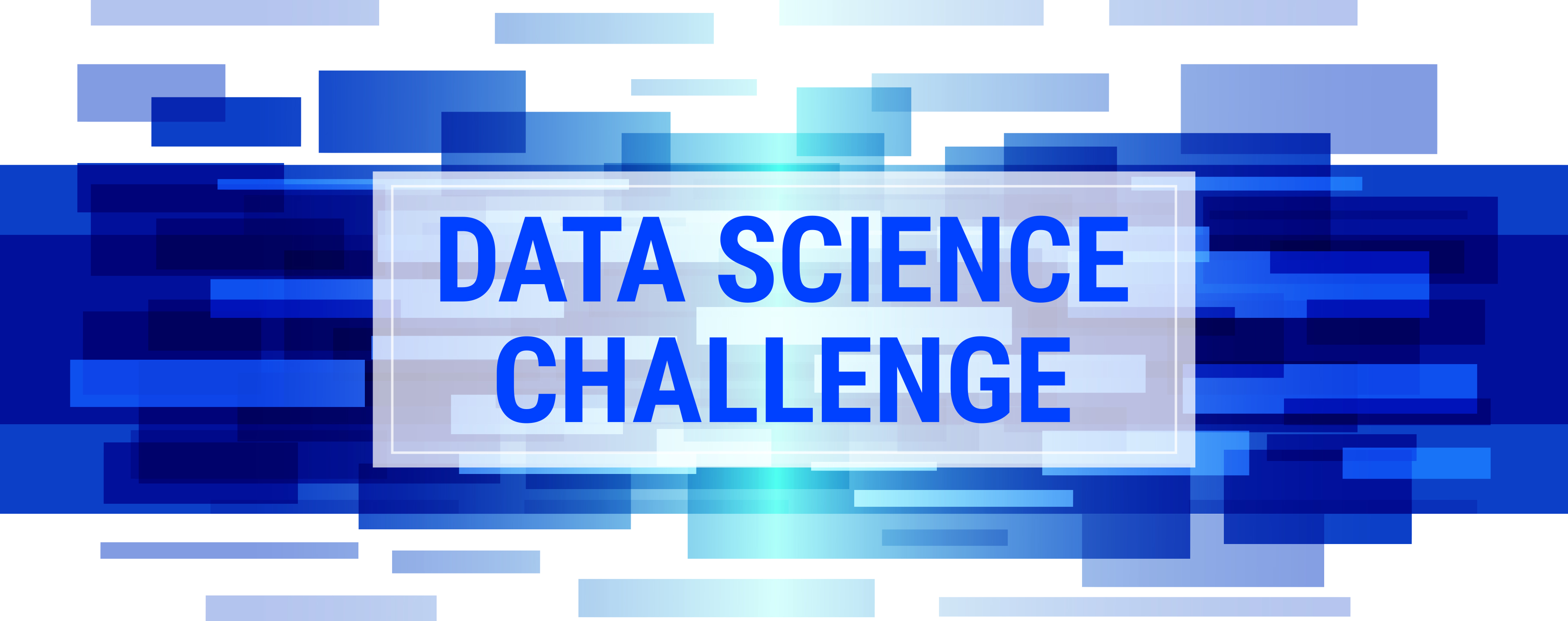 the words Data Science Challenge on abstract background